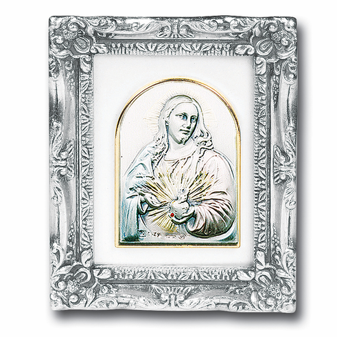 Salerni Sterling Silver Sacred Heart of Jesus with Antique Silver ...
