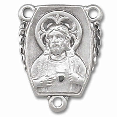 Sacred Heart of Jesus Sterling Silver Rosary Center by HMH Religious
