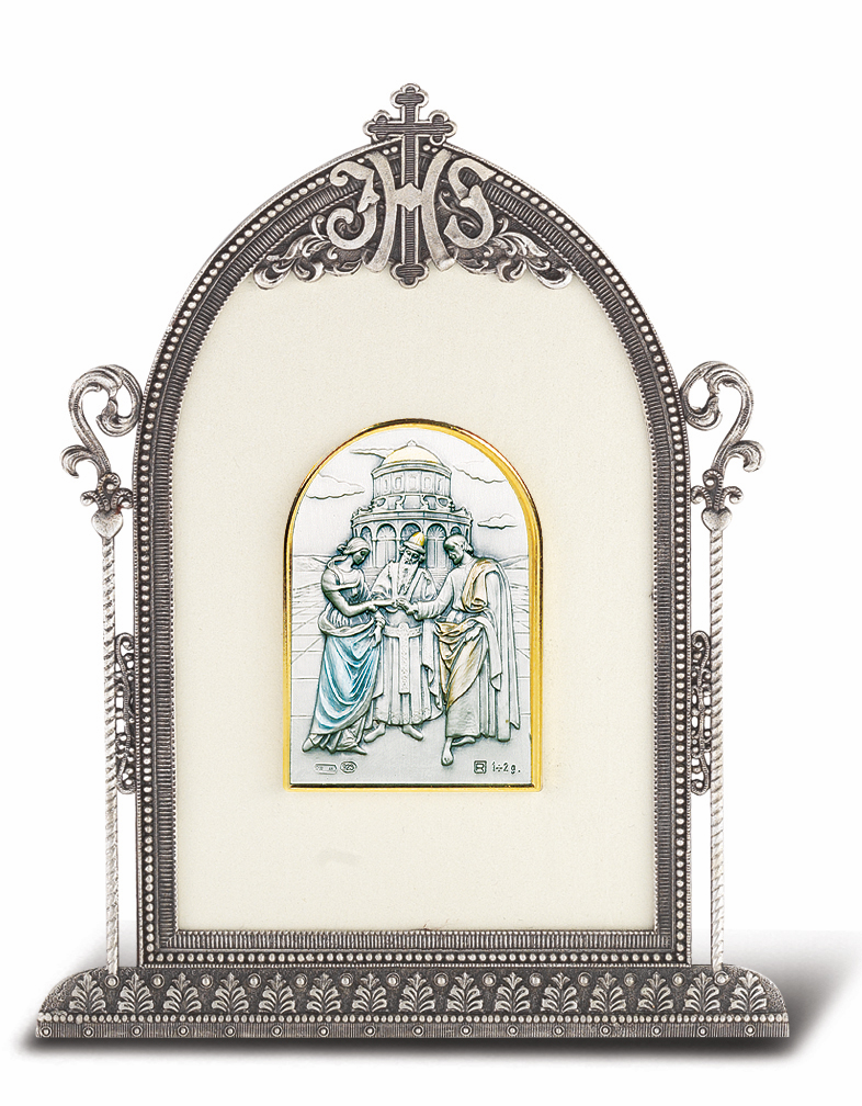 Salerni Sterling Antique Silver Religious Marriage Easel Back Plaque