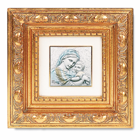 Salerni Sterling Silver Madonna And Child Antique Gold Leaf Frame