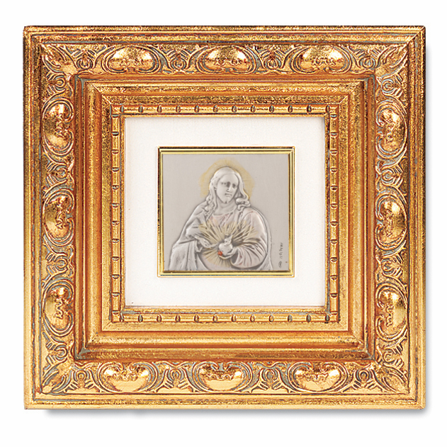 Salerni Sterling Silver Sacred Heart of Jesus Antique Gold Leaf Frame Picture