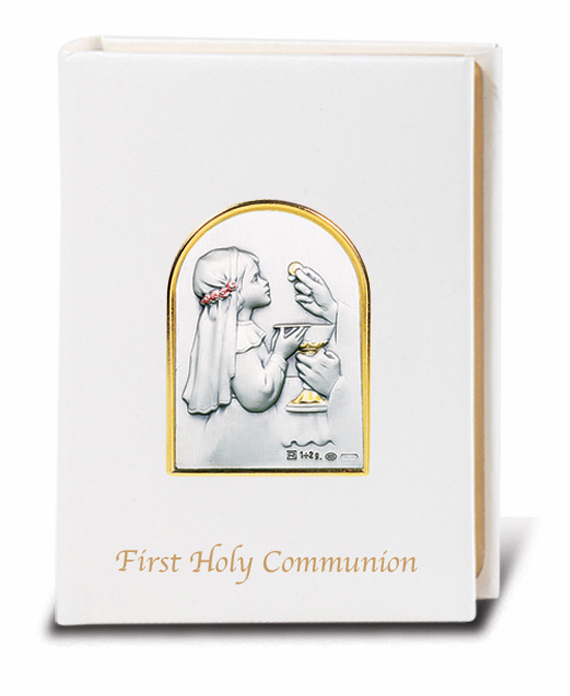 Salerni Sterling Silver White Girl's First Holy Communion Missal