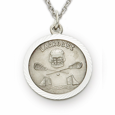 Singer Boys Lacrosse Sterling Silver Pendant with Cross Necklace