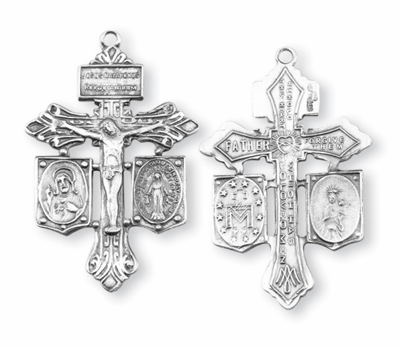 Small Pardon Sins Sterling Silver Crucifix Cross Medal Rosary Part by HMH Religious