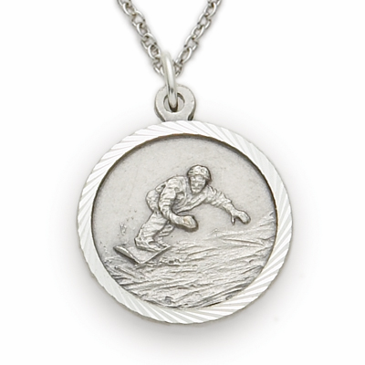 Snowboarding Sterling Silver Pendant with Cross Necklace