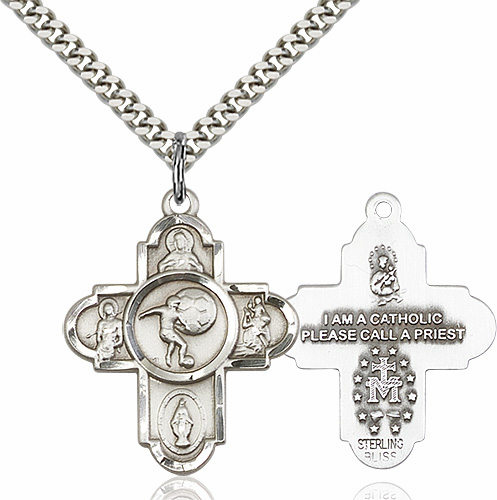 Soccer 5-Way Cross Saint Sterling Silver Sports Medal Necklace by Bliss
