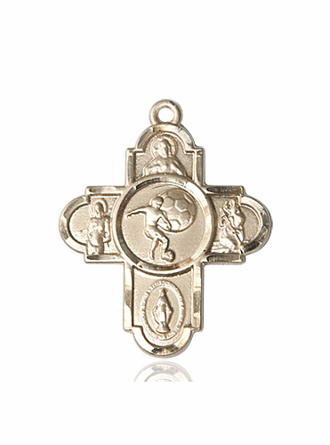 Soccer Patron Saint 5-Way Cross Sport 14kt Gold Medal Necklace by Bliss