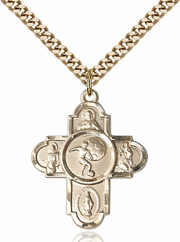 Soccer Patron Saint 5-Way Cross Sport Gold-Filled Medal Necklace by Bliss