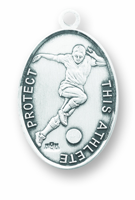 Soccer St Sebastian Sterling Silver Oval Medal Necklace by HMH Religious