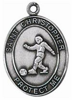 Soccer Sterling Silver Sports Medal Necklace with Chain by Jeweled Cross