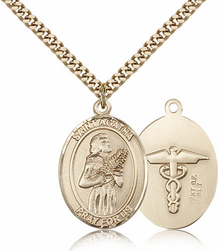 St Agatha Medical 14kt Gold-Filled Patron Saint of Nurses Medal Necklace by Bliss