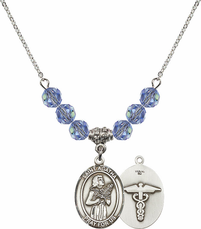 St Agatha Medical Swarovski Crystal Beaded Patron Saint Necklace by Bliss Mfg