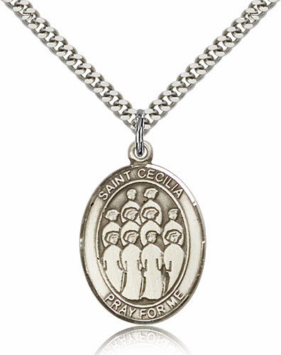 St Cecilia Choir Silver-Filled Patron Saint Medal by Bliss Manufacturing