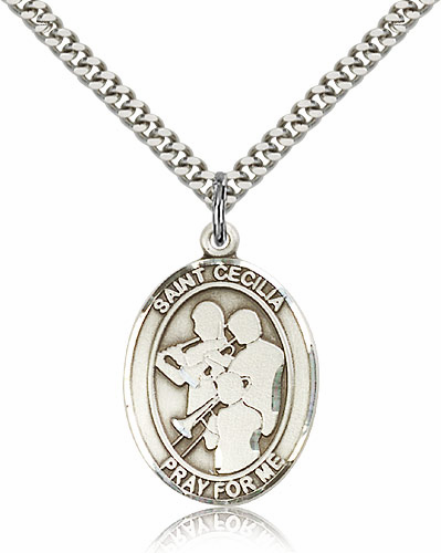 St Cecilia Marching Band Silver-Filled Patron Saint Medal by Bliss Manufacturing