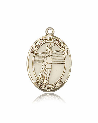 St Christopher 14kt Gold Volleyball Sports Medal Pendant by Bliss