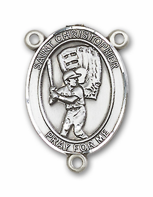 St Christopher Baseball Player Rosary Center Medal by Bliss Manufacturing