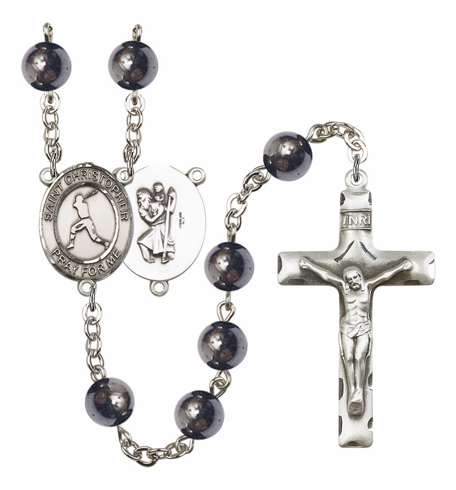 St Christopher Baseball Silver Plate 8mm Hematite Gemstone Prayer Rosary by Bliss