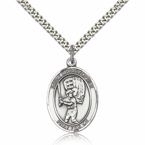 St Christopher Baseball Sports Sterling Silver Pendant Necklace by Bliss