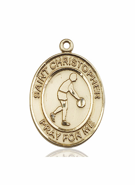 St Christopher Basketball 14kt Gold Sports Medal Pendant by Bliss