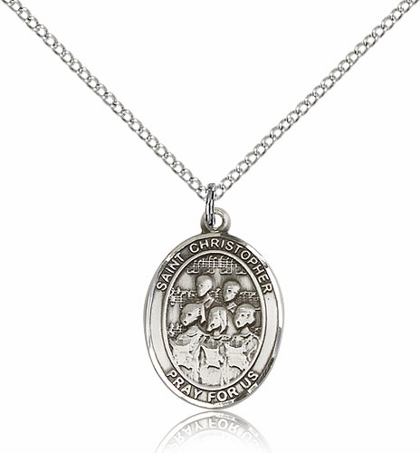 St Christopher Choir Sports Sterling Silver Pendant Necklace by Bliss