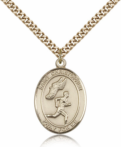 St Christopher Men's Track and Field Sports 14kt Gold-Filled Pendant Necklace by Bliss