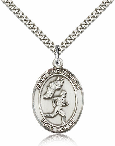 St Christopher Men's Track and Field Sports Sterling Silver Pendant Necklace by Bliss