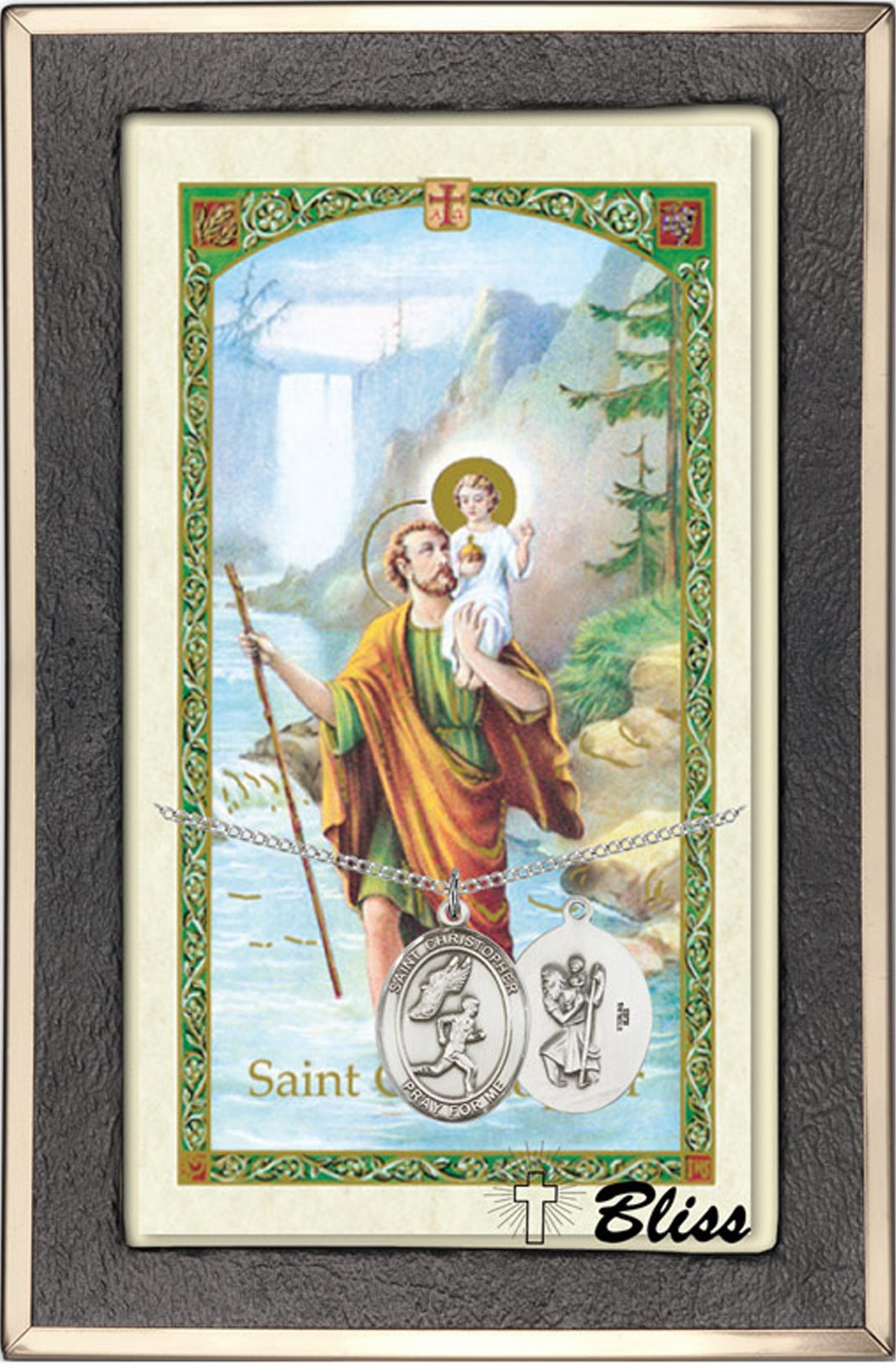 St Christopher Mens Track Prayer Card & Sterling-Filled Necklace by Bliss