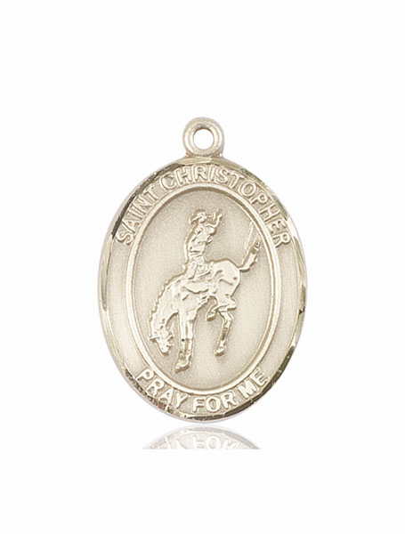 St Christopher Rodeo 14kt Gold Sports Medal Pendant by Bliss