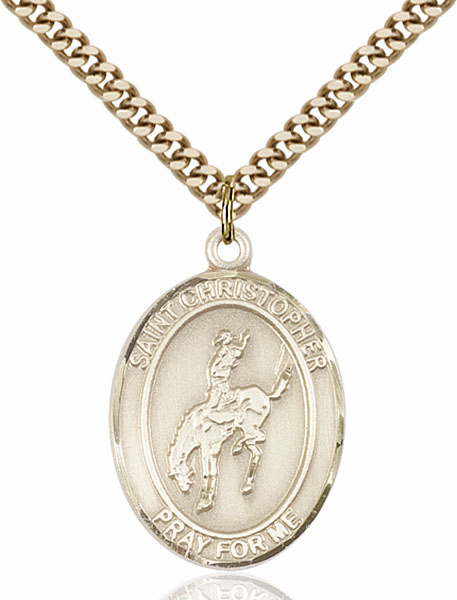 St Christopher Rodeo Sports 14kt Gold-Filled Pendant Necklace by Bliss
