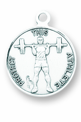 St Christopher Round Weight Lifting Sports Saint Medal Necklace by HMH Religious