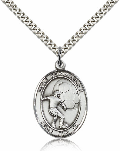 St Christopher Soccer Sports Sterling Silver Pendant Necklace by Bliss
