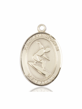 St Christopher Surfing 14kt Gold Sports Medal Pendant by Bliss