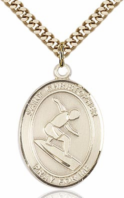 St Christopher Surfing Sports 14kt Gold-Filled Pendant Necklace by Bliss