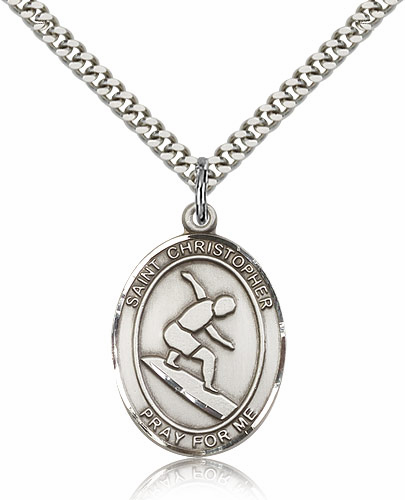 St Christopher Surfing Sports Sterling Silver Pendant Necklace by Bliss