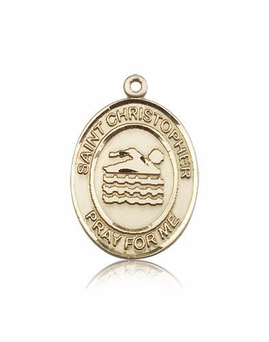 St Christopher Swimming 14kt Gold Sports Medal Pendant by Bliss
