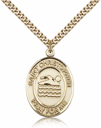 St Christopher Swimming Gold-Filled Pendant by Bliss Manufacturing
