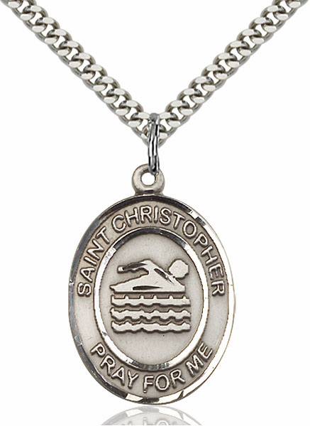 St Christopher Swimming Pewter Patron Saint Necklace by Bliss