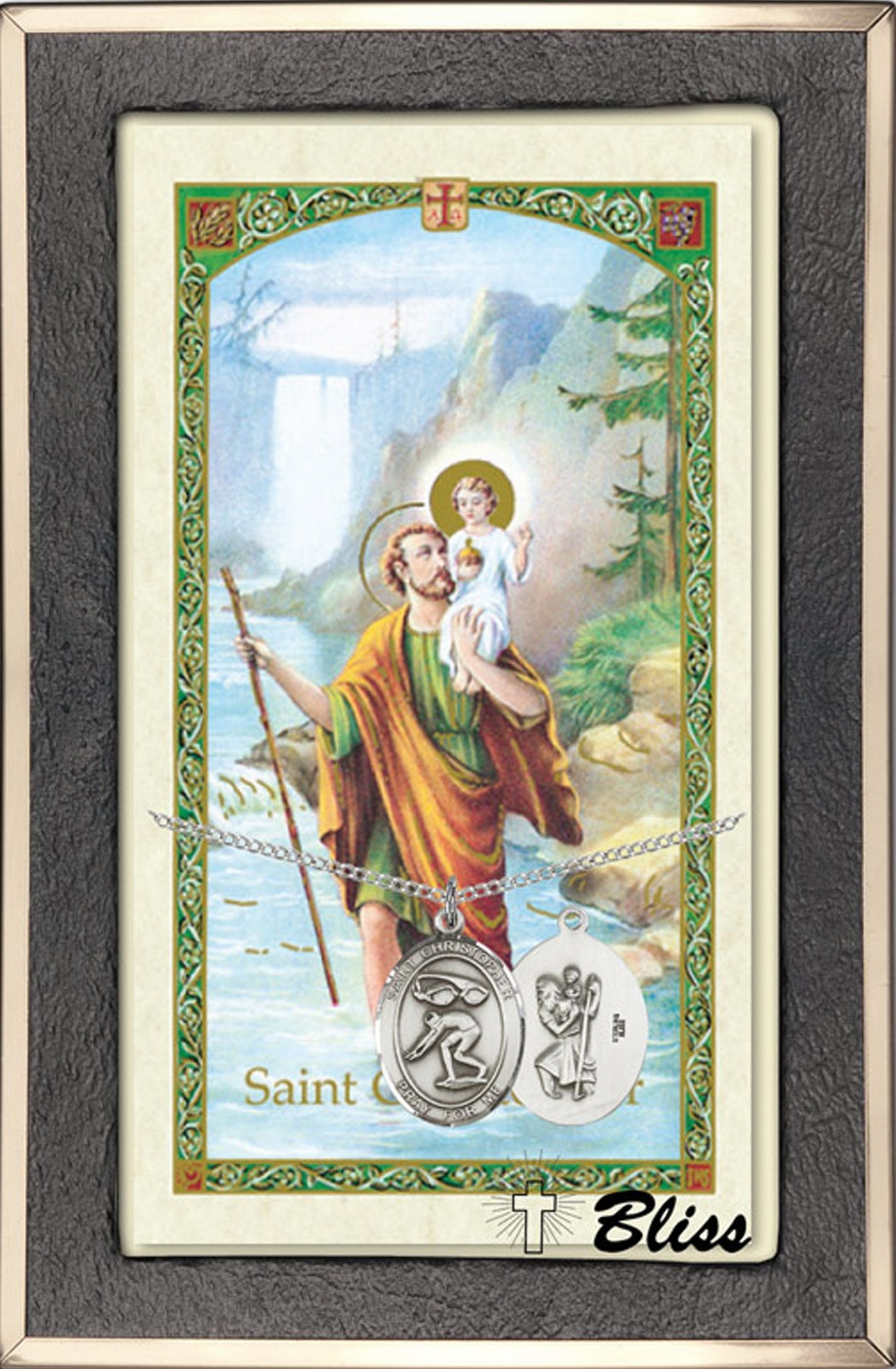 St Christopher Swimming Prayer Card & Sterling-Filled Necklace by Bliss