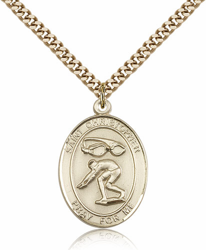 St Christopher Swimming Sports 14kt Gold-Filled Pendant Necklace by Bliss