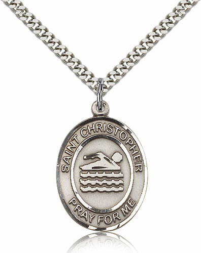 St Christopher Swimming Sterling Silver Sports Pendant w/ Chain Necklace by Bliss