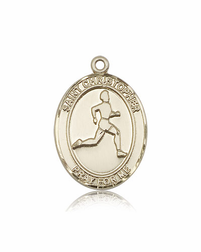 St Christopher Track and Field 14kt Gold Sports Medal Pendant by Bliss