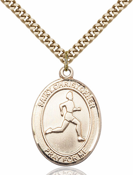 St Christopher Track and Field Sports 14kt Gold-Filled Pendant Necklace by Bliss