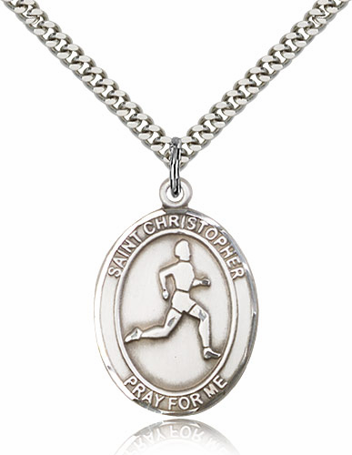 St Christopher Track and Field Sports Sterling Silver Pendant Necklace by Bliss