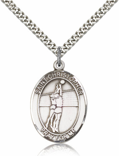 St Christopher Volleyball Silver-Filled Patron Saint Medal by Bliss Manufacturing