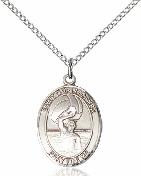 St Christopher Water Polo-Men Sports Sterling Silver Pendant Necklace by Bliss