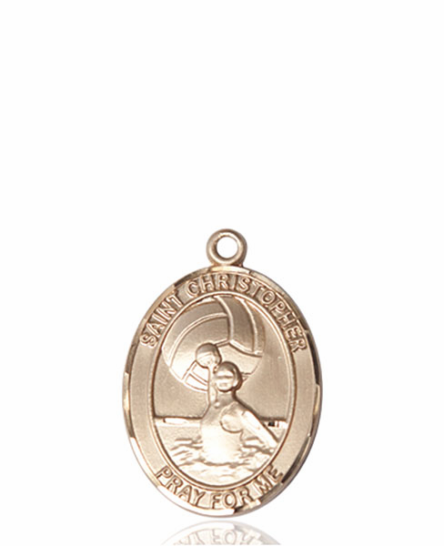 St Christopher Water Polo-Women 14kt Gold Sports Medal Pendant by Bliss