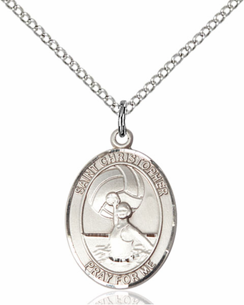 St Christopher Water Polo-Women Sports Sterling Silver Pendant Necklace by Bliss