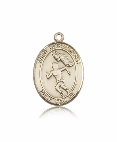 St Christopher Women's Track and Field 14kt Gold Sports Medal Pendant by Bliss