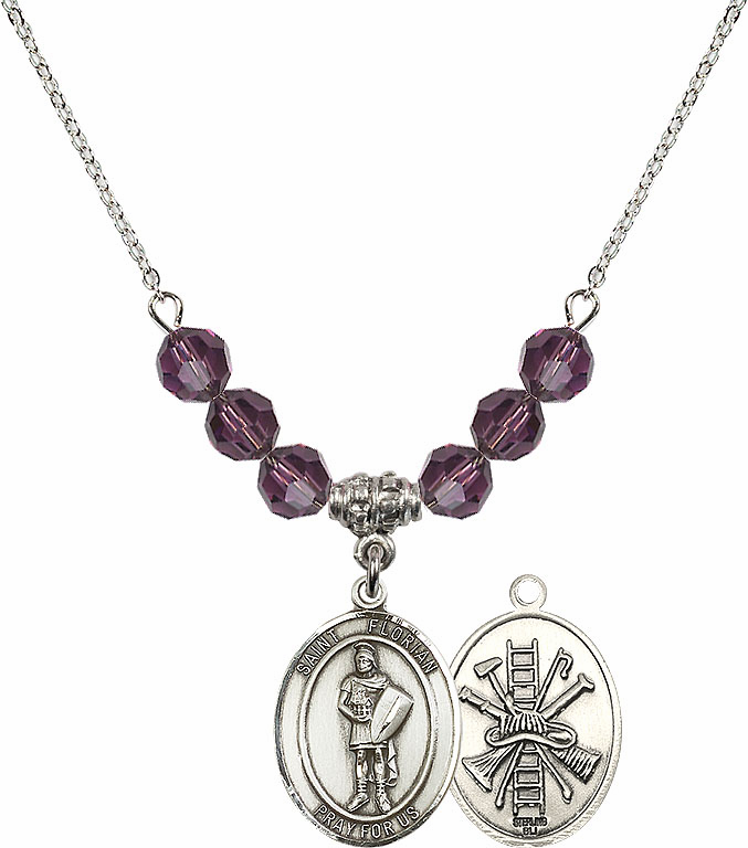 St Florian Fire Fighters/Fireman Amethyst Swarovski Necklace by Bliss Mfg