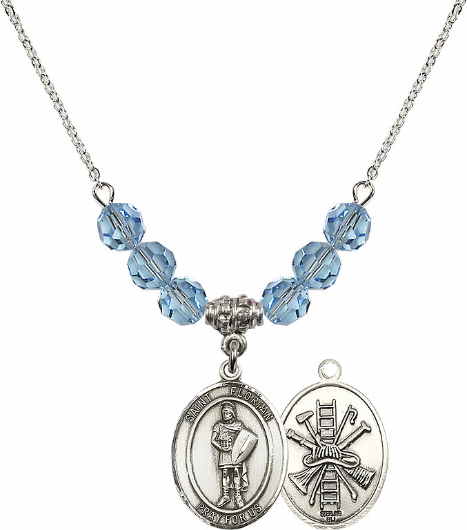 St Florian Fire Fighters/Fireman Aqua Swarovski Necklace by Bliss Mfg
